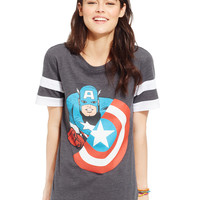Hybrid Juniors' Captain America Sporty Graphic Tee