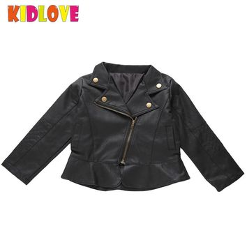 KIDLOVE Kids PU Leather Jacket for Boys Girls Spring Autumn Punk Rock Clothes Children Outwear Christmas Gift Coats Costume ZK30