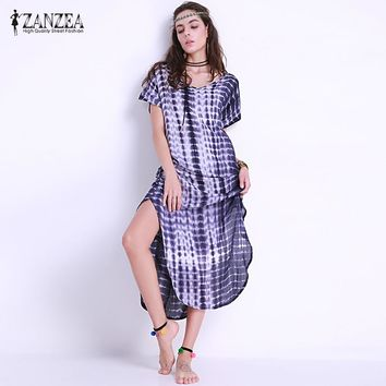 ZANZEA Women Short Sleeve Tie Dye Side Slit Maxi Bohemian Dress Rayon Plus Size 5XL Vestido Female Summer Floral Beach Sundress
