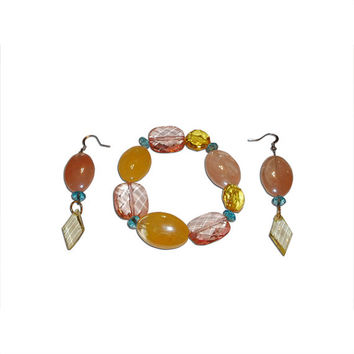 Pastel Plastic Beaded Bracelet and Earrings Set