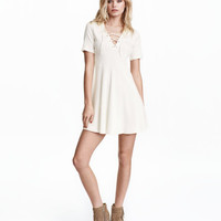 Ribbed Dress with Lacing - from H&M