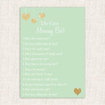 Who Knows Mommy Best Shower Game Mint and Gold heart Baby Shower Printable Instant Download Digital Gender Neutral Baby Shower Games