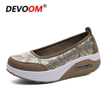 New Summer&Spring Ladies-Shoes Women's Bling Swing Shoes Woman Light Height Increase Golden Casual Air Mesh Flats Plus Size EU41