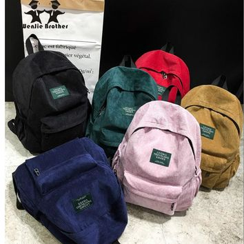 wenjie brother new arrival Autumn and winter corduroy backpack female college backpack bag  student backpack women backpack