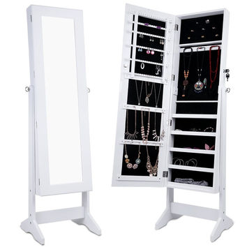LANGRIA Free Standing Lockable Full Length Mirrored Jewelry Cabinet Armoire w...