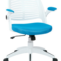 Ave Six Tyler Office Chair With White Frame And Blue Fabric
