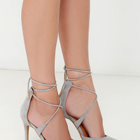 Leading Role Grey Suede Lace-Up Heels