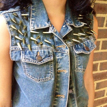 Spike studded denim vest by MadisonsCustomCloset on Etsy