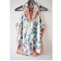 Salmon turquoise flower pattern floral sleeveless cotton blouse summer shirt OOAK
