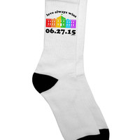 Love Always Wins with Date - Marriage Equality Adult Crew Socks
