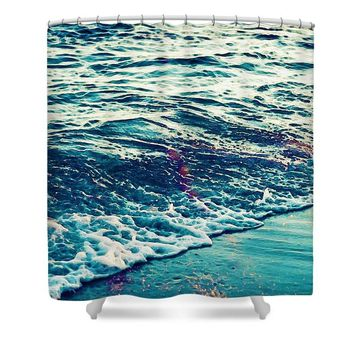 sand and sun, summer has began, Watercolor Art by Adam Asar - Asar Studios - Shower Curtain