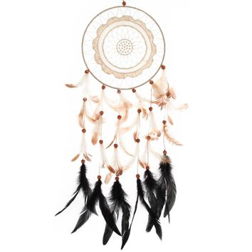 1pcs Flower Pattern Lace Dream Catcher With Beads Feather Car Wall Hanging Decoration Accessories Dreamcatcher Handmade Gifts