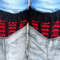 Red Black Short Knit Boot Cuffs, Short Leg Warmers. Knitted Boot Socks, Striped Legwear, Boot Cuffs, Accessory Woman