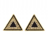 House of Harlow 1960 Jewelry Teepee Triangle Studs Black