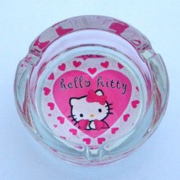 "Hello Kitty Ashtray Round Glass Clear Cigarette Cigar 3.5"" Heart"