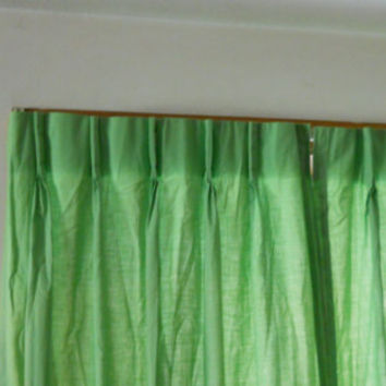 Pleated Lime Green Drapes / Vintage 1960s 2 or 4 Curtain / Drapery Panels 20 x 80 Each