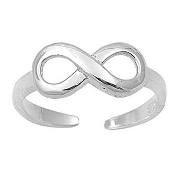 .925 Sterling Silver Infinity Toe Ring