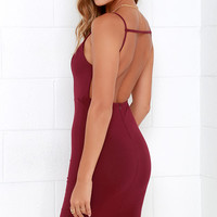 A Little Louder Burgundy Backless Midi Dress