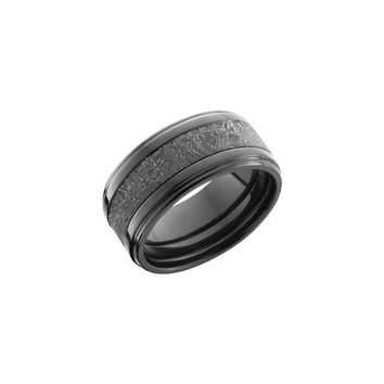 Meteorite and Black Zirconium Band Ring with Crosshatch