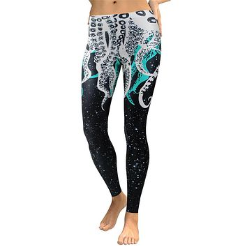 Octopus Galaxy Women's Black White & Turquoise Slim High Waisted Elastic Printed Fitness Workout Leggings
