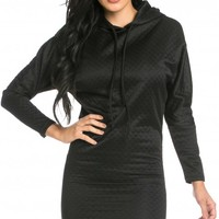 Hooded Drawstring Quilted Sweater Dress in Black