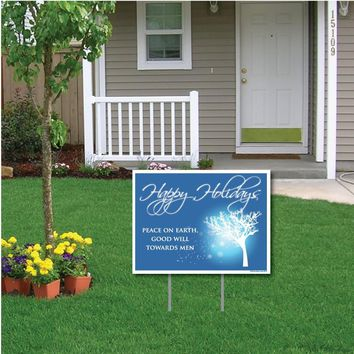 "Happy Holidays Peace on Earth Holiday Lawn Display - 18""x24"" Sign"