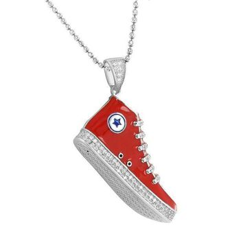 CREYUG7 Sneaker Converse Shoes Pendant Chain 925 Silver Red