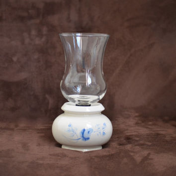 Vintage Candle Holder HomCo Lasting Products Hand Painted Hurricane Globe Candle Holder 70's/80's