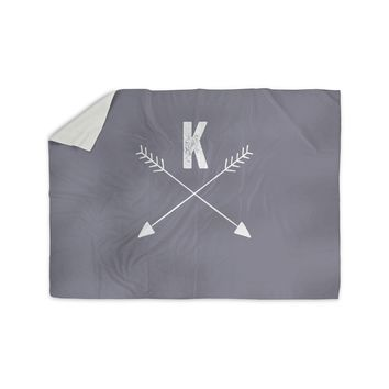 "KESS Original ""Gray Arrow Monogram"" Sherpa Blanket"