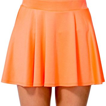 Sexy Solid Skater Skirt