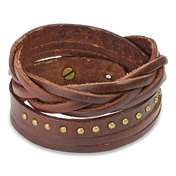 Brown Multi-strip Braided/ Studded Strap Bracelet | Overstock.com Shopping - The Best Deals on Fashion Bracelets