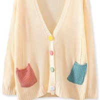Preppy Colorblocked-Pockets Cardigans - OASAP.com