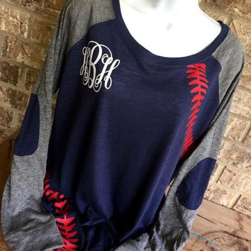 Baseball monogram shirt, baseball mom shirt, Runs Small -front laces and sleeves