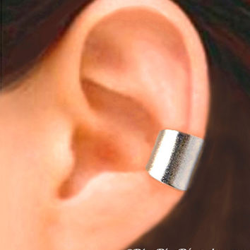 Wide silver ear cuff earring jewelry - Simple Earcuff for men and women  (12 mm) 080812