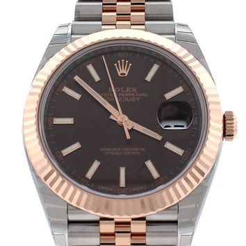 Rolex Datejust 41 Chocolate Dial 18K Rose Gold and Steel Mens Watch 126331