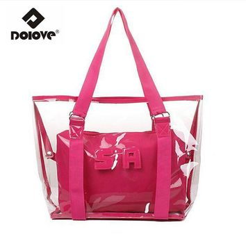 DOLOVE Transparent Women Bag 2016 Korean Women New Tide Beach Handbag Waterproof Shoulder Bag Women Messenger Tote Bag