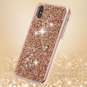Iphone X Case Iphone 10 Caseflyee 2 In 1 Bling Crystal 3d Diamond Pattern Sparkly Handmade Rhinestone Soft Tpu Silicone Bumper Cover Perfect Fit For Apple Iphonex Iphone10 Rose Gold