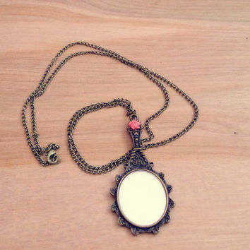 Handmade Necklace with Vintage Style Mirror Charm