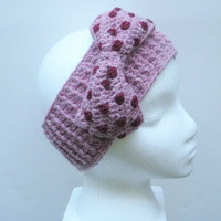 Crochet Ear Warmer Headband in Dusty Pink with Large Polka Dot Bow, ready to ship.