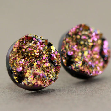 Fake Plugs, Druzy Stone Stud Earrings : Pink, Purple and Gold, Crackle, 12mm, Sparkle, Glitter by ARTISANTREE on Etsy