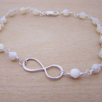 Dainty Sterling Silver Infinity Mother Of Pearl Wire Wrapped Bracelet / Gift for Her