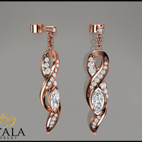 14K Rose Gold Diamond Drop Earrings,Diamond Drop Earrings,14K Solid Gold Earrings,Rose Gold Earrings,Bridal Earrings,Camellia Jewelry