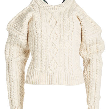 Wool Cable Knit Pullover with X Back - CALVIN KLEIN 205W39NYC | WOMEN | KR STYLEBOP.COM
