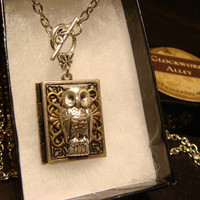 Victorian Style Steampunk Owl Book Locket Necklace- (1776)