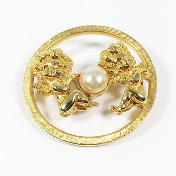 Tortolani Gemini Twins Circle Pin Vintage 1970s Angels Brooch Gift for Her June Birthday Zodiac Collectible Gold Tone Faux Pearl Round Open