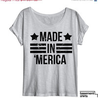 ON SALE Made In 'Merica USA American Vintage Tri Blend Women's Dolman Soft T Shirt