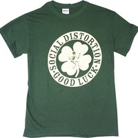Social Distortion Irish Clover Good Luck Shirt from Old School tees.com | Great Selection of Social D Tee Shirts and many more Band T-Shirts from Old School Tees