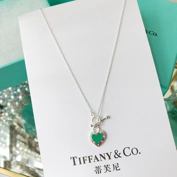 DCCK2 171 Tiffany enamel heart-shaped Necklace