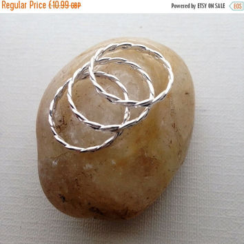 ON SALE Silver Stackable Ring, Silver Twisted Rope Ring, Silver Rope Ring, Silver Midi Ring, Sterling Silver 925, Boho Ring