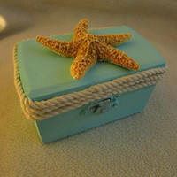 Turquoise Beachy Coastal Nautical Rustic Wedding Ring BOx Gift Box Starfish